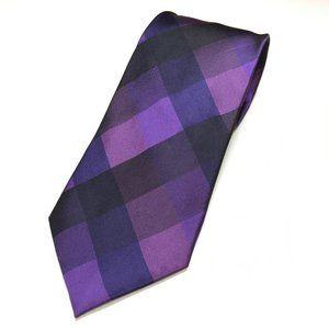 Calvin Klein Tie Pure Silk Purple Black Checkered